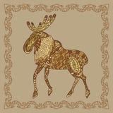 Baikal elk illustration in doodle style. Royalty Free Stock Images