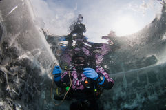 Baikal ice diver Royalty Free Stock Image