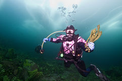 Baikal ice diver Royalty Free Stock Images
