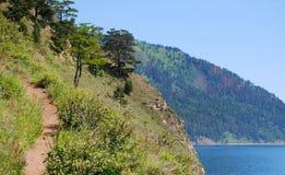 Baikal lake. Coastline of the Baikal lake, mountains Royalty Free Stock Photo