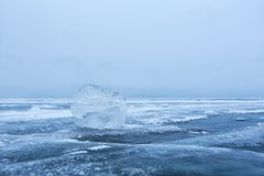Baikal Lake ice on the blue sky Royalty Free Stock Images