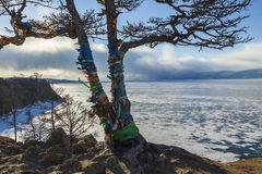 Baikal Lake. Olkhon Island in winter time Stock Photos