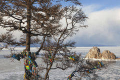 Baikal Lake. Olkhon Island in winter time royalty free stock image