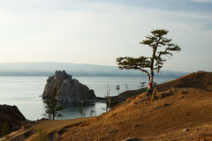 Baikal lake with the rocky mountains panorama in the Russia Stock Image