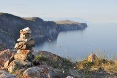 Baikal lake shaman stones, Russia stock photography