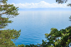 Baikal lake through the trees. Wather landscape with moderate mountains and light clouds on the horizon. Framed with green pine branches royalty free stock photo