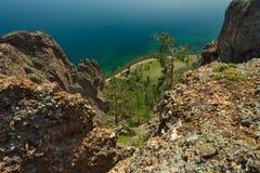 Baikal lake view. View from high rock on Baikal lake at daylight Stock Photos