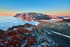 Baikal Lake in winter stock photography