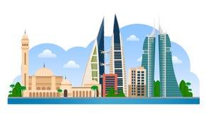 baikal Manama horisont med färgrika byggnader och blå himmel royaltyfri illustrationer