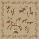 Baikal petroglyphs illustration in doodle style. Vector monochro Royalty Free Stock Photos