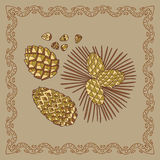 Baikal pinecones illustration in doodle style.  Royalty Free Stock Photography