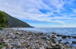 Baikal shore in July day stock photo