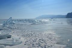 Baikal w zimie Baikal natura i lód Luty 2018 Zdjęcie Stock