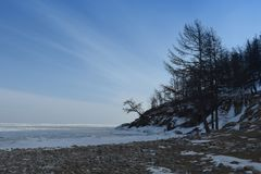 Baikal w zimie Baikal natura i lód Luty 2018 Obraz Stock