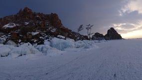Baikal w zimie Tajemniczy miejsca obraz stock