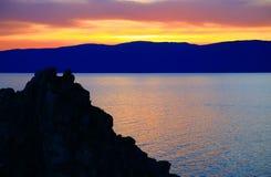 baikal wyspy jeziorny olkhon zmierzch obrazy stock
