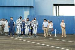 BAIKONUR, KAZACHSTAN - JULE, 28: istni astronauta, astronauta wysyłają ISS na Rosyjskiej astronautycznej rakiecie randolph Obrazy Stock