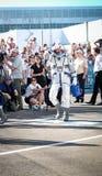 BAIKONUR, KAZAJISTÁN - JULE, 28: envían los astronautas reales, astronautas al ISS en un cohete de espacio ruso paolo Imagen de archivo libre de regalías