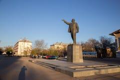 Baikonur, Kazakhstan - April 19, 2017: Central square of Baikonur. With Lenin statue royalty free stock images