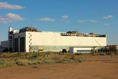 Baikonur Kazakhstan Cosmodrome. Destroyed building to test space shuttle Buran stock photos
