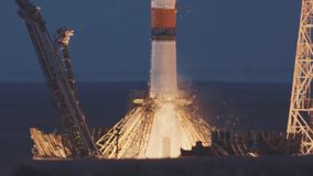 BAIKONUR, KAZAKHSTAN - JULE 28: Russian rocket take off. The spacecraft launches into space, the astronauts fly away stock footage