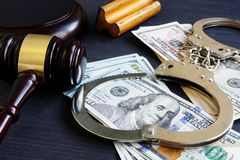 Free Bail Bond. Corruption. Gavel, Handcuffs And Money. Royalty Free Stock Photography - 128319247