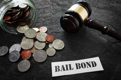 Bail Bond message with coins and gavel. Coins and legal gavel with paper Bail Bond message Stock Images