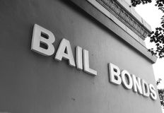 Bail Bonds office. Bail Bonds sign on office building exterior stock photo