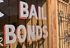 Bail Bonds Sign. In Window Royalty Free Stock Images