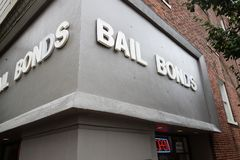 Bail. Front view of a Bail Bond office stock images