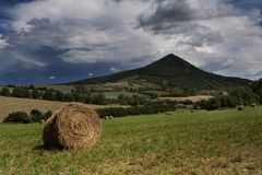 Bail of hay on hill. Many round bail of hay on green hill with green trees and small town in distance stock image