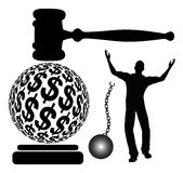 Bail out of Jail. Defendant is getting out of jail which is accomplished by posting bail Royalty Free Stock Photo