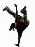 Bailarín acrobático de la rotura del hip-hop breakdancing posición del pino del hombre joven Imagen de archivo libre de regalías