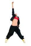 Bailarín activo de hip-hop en blanco Fotos de archivo libres de regalías