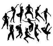 Bailarín adolescente deportivo In Action Silhouettes de la rotura Foto de archivo