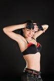 Bailarín atractivo en fondo negro Fotografía de archivo libre de regalías