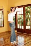 Bailarín atractivo en los zapatos del pointe fotos de archivo