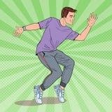 Bailarín de Art Happy Young Hip Hop del estallido Guy Dancing alegre ilustración del vector