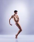 Bailarín de ballet atlético en una ejecución perfecta de la forma Foto de archivo