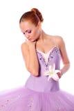 Bailarín de ballet con el lirio foto de archivo