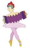 Bailarín de ballet de sexo masculino con el accordeon Imágenes de archivo libres de regalías