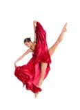 Bailarín de ballet en alineada del satén del vuelo Imagen de archivo