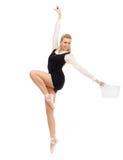 Bailarín de ballet en la imagen de una mujer de negocios Imágenes de archivo libres de regalías