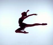 Bailarín de ballet joven hermoso que salta en un gris Fotografía de archivo libre de regalías