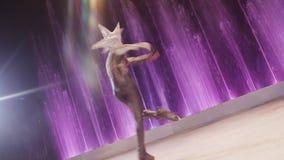 Bailarín de hielo que hace vuelta vertical metrajes