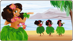 Bailarín de Hula en Hawaii. Ilustración del Vector