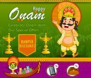Bailarín de Kathakali y venta de ofrecimiento de las compras de rey Mahabali para el festival de Onam de Kerala libre illustration