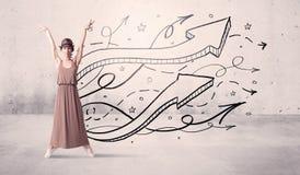 Bailarín de la calle con las flechas y las estrellas Fotografía de archivo libre de regalías
