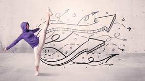 Bailarín de la calle con las flechas y las estrellas Imagen de archivo