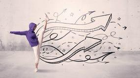 Bailarín de la calle con las flechas y las estrellas Fotos de archivo